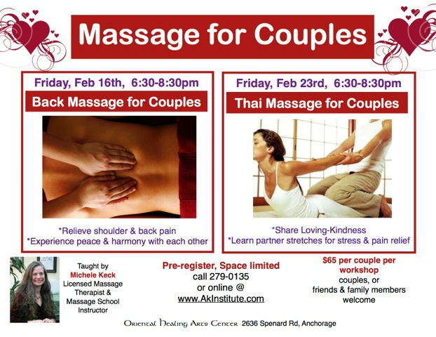 Valentine's Day Massage Special Workshops for Couples